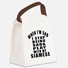 Play With Siamese Cat Canvas Lunch Bag