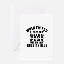 Play With Russian Blue Cat Greeting Card