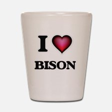 I Love Bison Shot Glass