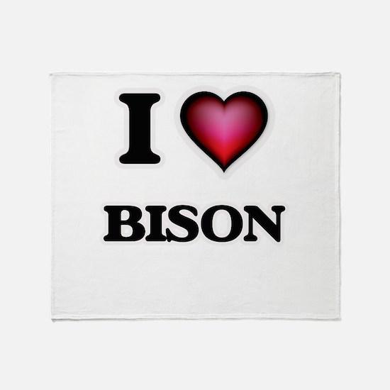 I Love Bison Throw Blanket