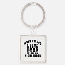 Play With Highlander Cat Square Keychain