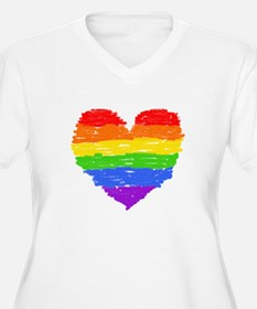 rainbow heart 3 Plus Size T-Shirt