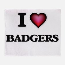 I Love Badgers Throw Blanket