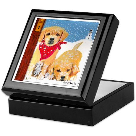 "Golden Retriever ""Winter Wonderland"" Tile Box"