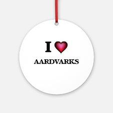 I Love Aardvarks Round Ornament