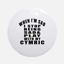 Play With Cymric Cat Round Ornament
