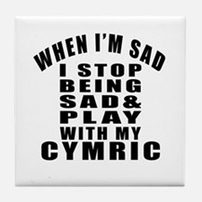 Play With Cymric Cat Tile Coaster