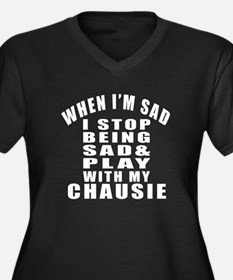 Play With Ch Women's Plus Size V-Neck Dark T-Shirt