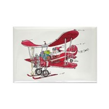 Santa Biplane Rectangle Magnet (10 pack)