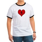 I heart Womens Volleyball Ringer T
