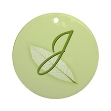 Leaves Monogram J Ornament (Round)