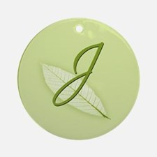 Leaves Monogram J Ornament (Round)