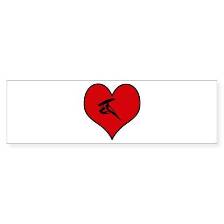 I heart Windsurfing Bumper Sticker