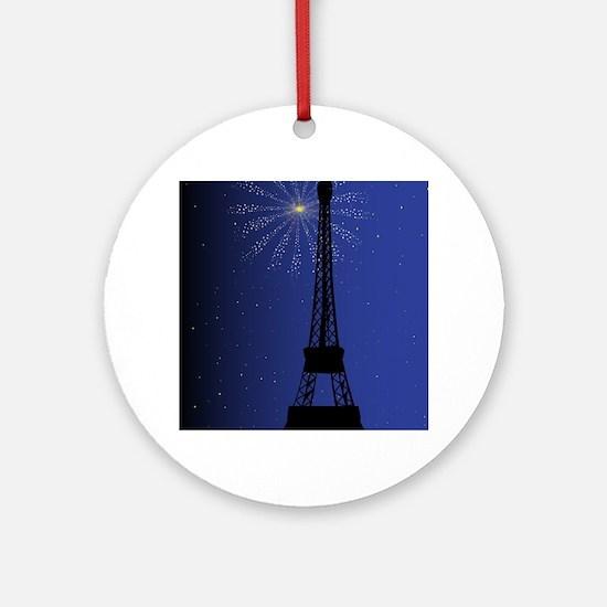 Paris Night Round Ornament
