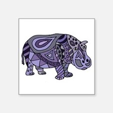 Blue Hippo Abstract Sticker