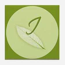 Leaves Monogram I Tile Coaster