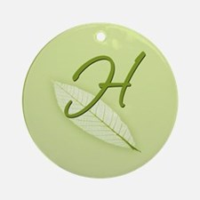 Leaves Monogram H Ornament (Round)