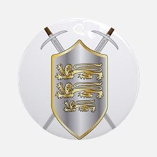 Crossed Swords and Shield Round Ornament