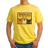 Cat Mens Classic Yellow T-Shirts