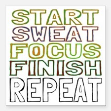"Start Sweat Focus Finish Square Car Magnet 3"" x 3"""