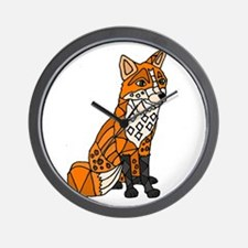 Red Fox Abstract Wall Clock