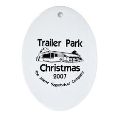 Trailer Park 07 B&W Oval Ornament