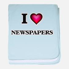 I Love Newspapers baby blanket