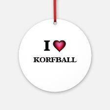 I Love Korfball Round Ornament