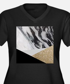 contemporary gold glitter marble Plus Size T-Shirt