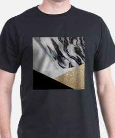 contemporary gold glitter marble T-Shirt
