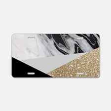 Geometric gold glitter marb Aluminum License Plate