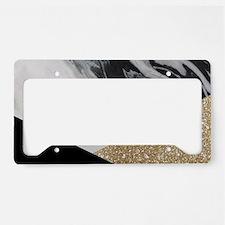 Geometric gold glitter marble License Plate Holder