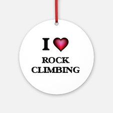 I Love Rock Climbing Round Ornament