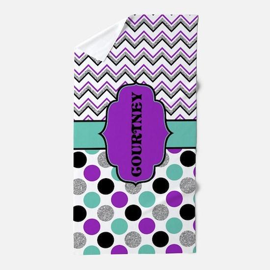 Modern Purple And Teal Teen Tween Beach Towel