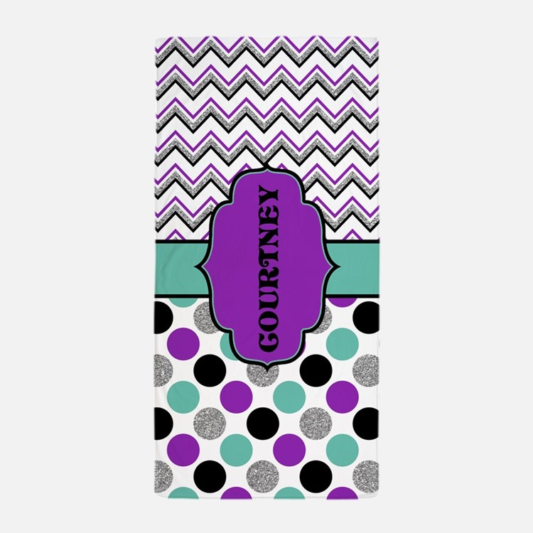Modern Purple And Teal Teen Tween Beach Towel