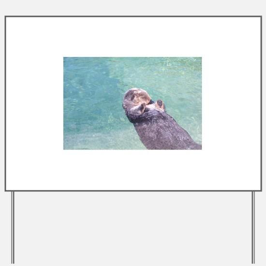 Sleeping Sea Otter Yard Sign