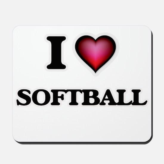 I Love Softball Mousepad