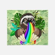 Sloth Spitting Rainbow Throw Blanket