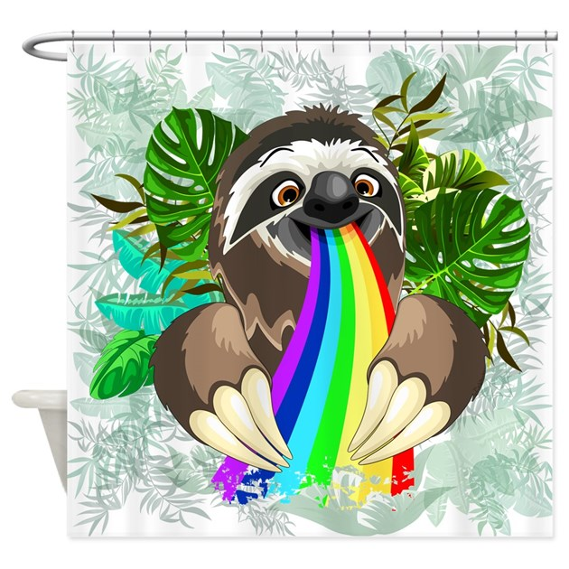 Sloth spitting rainbow shower curtain by bluedarkartgifts for Sloth kong shower curtain