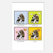 4 Seasons Basset Postcards (Package of 8)