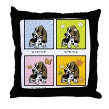 4 Seasons Basset Throw Pillow