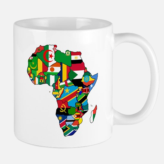 Flag Map of Africa Mugs