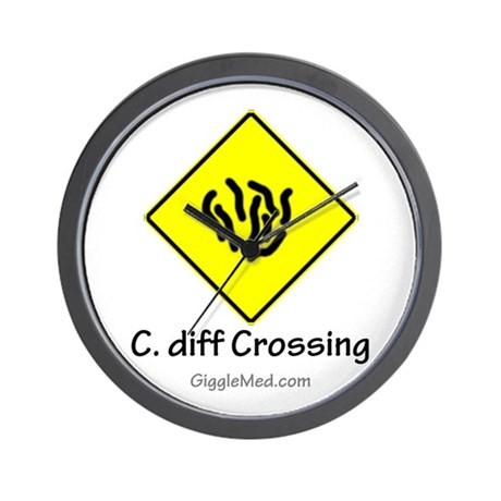 C. diff Crossing Sign 01 Wall Clock