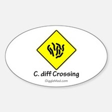 C. diff Crossing Sign 01 Oval Decal