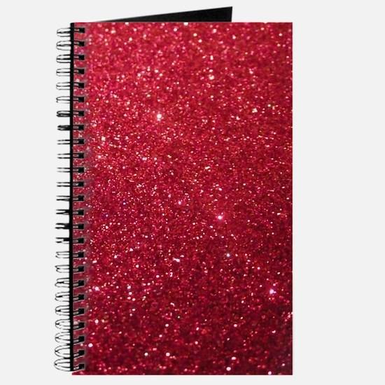 Girly Chic Red Glitter Journal