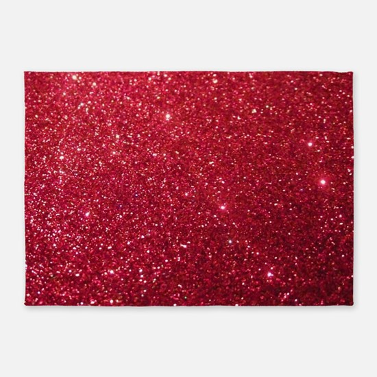 Girly Chic Red Glitter 5'x7'Area Rug