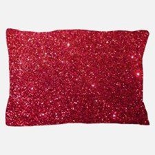 Girly Chic Red Glitter Pillow Case