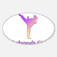 Taekwondo Girl 1 Oval Decal
