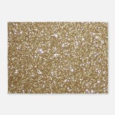 Girly Glam Gold Glitters 5'x7'Area Rug