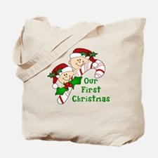 Twins First Christmas Candy Cane Tote Bag